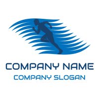 Blue Running Man Silhouette Logo Design