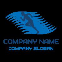 Blue Running Man Silhouette Logo Design