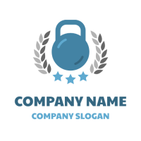 Blue Weight with Grey Leaves Logo Design