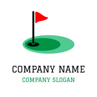 Golf Hole with Triangle Flag Logo Design