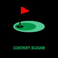 Golf Hole with Triangle Flag Logo Design