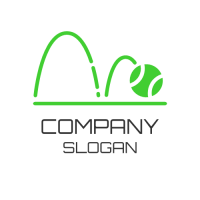 Jumping Green Tennis Ball Logo Design
