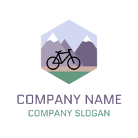 Mountain Path with Bicycle Logo Design