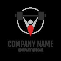 Strong Bodybuilder with Barbell Logo Design