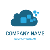 Cloud Storage with Outgoing Data Logo Design