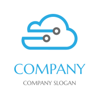 Electronic Wire in a Form of Cloud Storage Logo Design