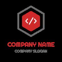 Technology & Science Logo | Program Code Inside a Hexagon