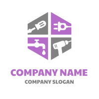 Hexagon with Tools Inside Logo Design