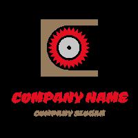 Sharp Red Circular Saw and Wood Logo Design