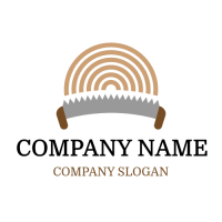 Wood Stump and Curved Saw Logo Design