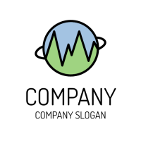 Blue and Green Earth with Pulse Logo Design