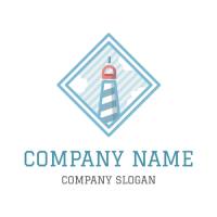 Blue Lighthouse in the Sea Logo Design