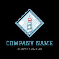 Blue Lighthouse in the Sea Logo Design