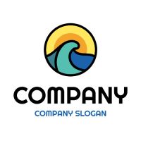 Blue Wave and Orange Sky Logo Design