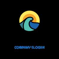Blue Wave and Orange Sky Logo Design