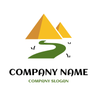Egyptian Pyramids and Path Logo Design