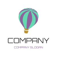 Green and Purple Hot Air Baloon Logo Design