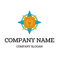 Orange and Blue Compass Logo Design