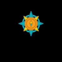 Orange and Blue Compass Logo Design