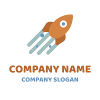 Orange Flying Space Rocket Logo Design