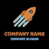 Orange Flying Space Rocket Logo Design
