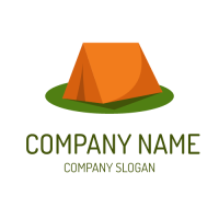 Orange Tent on the Green Grass Logo Design