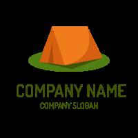 Orange Tent on the Green Grass Logo Design
