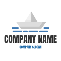 Paper Boat in the Blue Waves Logo Design