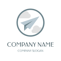 Paper Plane Flying in the Clouds Logo Design