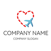 Red Heart and Blue Airplane Logo Design