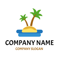 Small Tropical Island in the Sea Logo Design