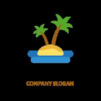 Small Tropical Island in the Sea Logo Design