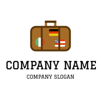Travel Luggage with Flags Logo Design
