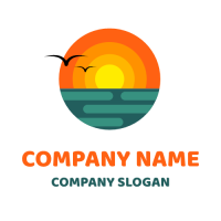 Two Seagulls in Front of the Sunset Logo Design