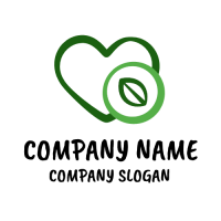 Green Heart with Salad Leaf Logo Design