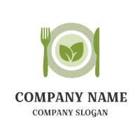 Green Plate with Fork and Knife Logo Design