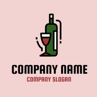 Group of Bottle and One Glass Logo Design